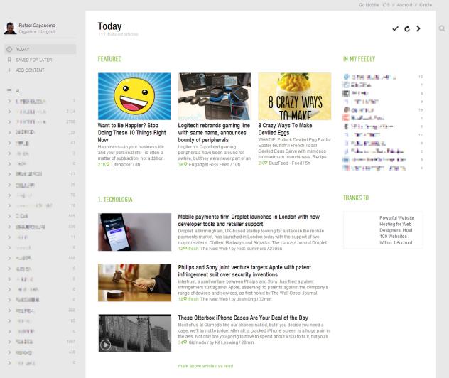 Versão web do Feedly (Reprodução)