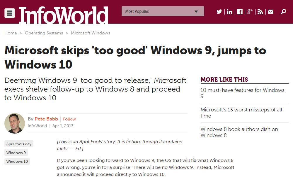 """Notícia satírica da InfoWorld sem querer """"prevendo"""" estratégia da Microsoft"""