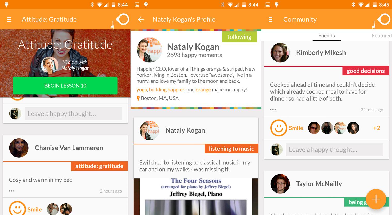 Screenshots do aplicativo Happier