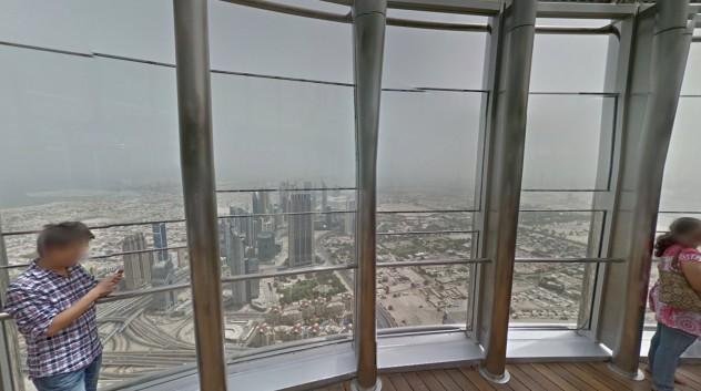 Vista do último andar do Burj Khalifa pelo Street View