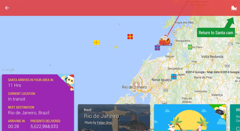 santa tracker google app natal