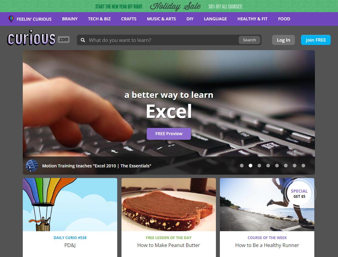 Captura de tela do site Curious.com