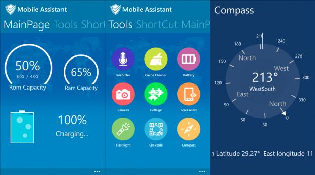 Capturas de tela do aplicativo Mobile Assistant