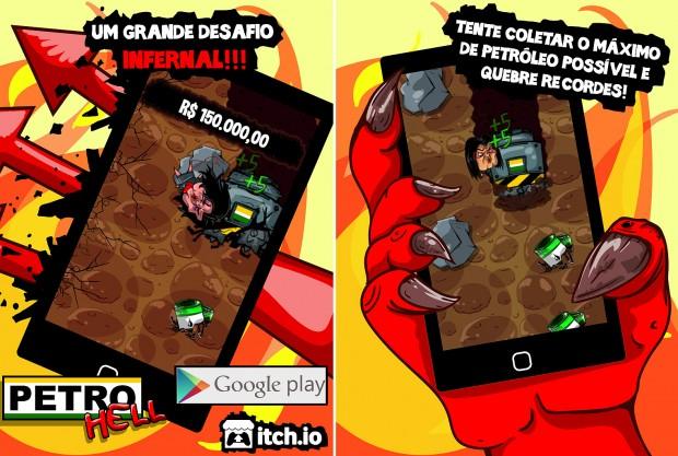 Imagens de divulgação do game 'petroHell'