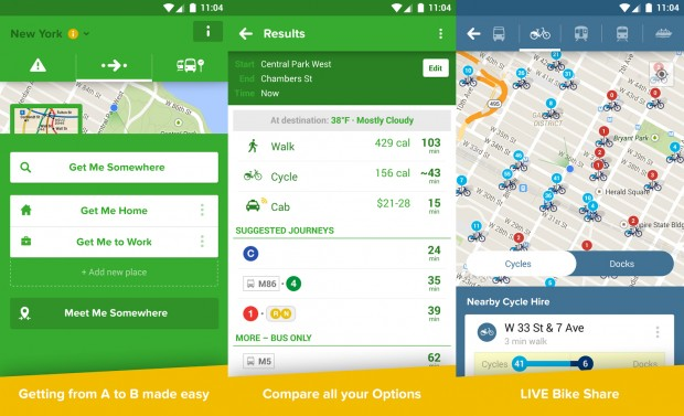 Capturas de tela do Citymapper