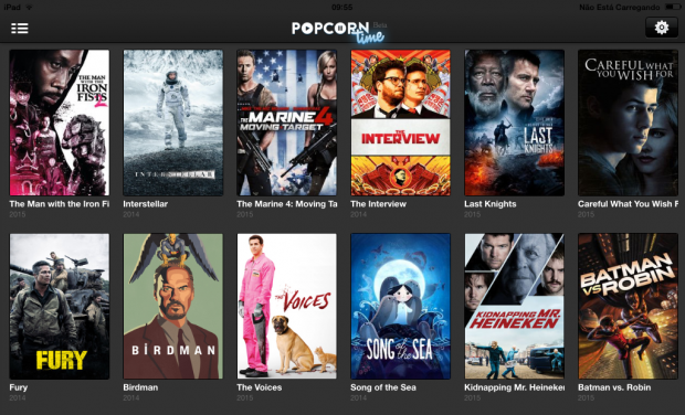 Captura de tela do Popcorn Time