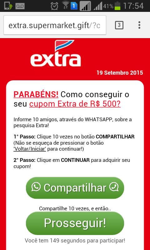 WhatsApp alert_BRZ_Extra_site falso