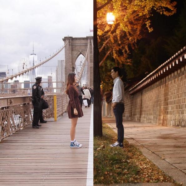 Danbi Shin (à esq.), na ponte do Brooklyn, em Nova York, e Li Seok, na muralha do palácio Deoksugung, em Seul