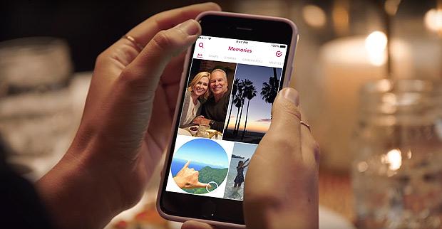 Função Memories, do Snapchat, que vai armazenar posts antigos