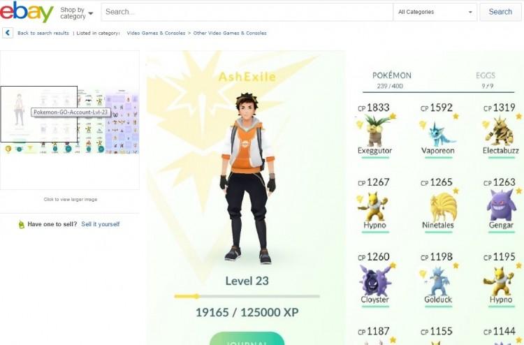 Oferta de conta de 'Pokémon Go' já no nível 23 do jogo